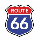 66 Route Sign Icon. Vector Road 66 Highway Interstate American Freeway Us California Route Symbol poster