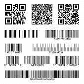 Barcodes. Supermarket Scan Code Bars And Qr Codes, Industrial Barcode Price Black Labels Realistic I poster