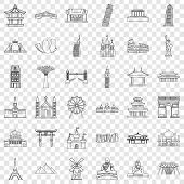 Famous Place Icons Set. Outline Style Of 36 Famous Place Vector Icons For Web For Any Design poster