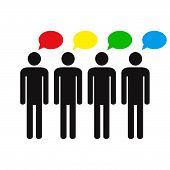Think Differently. Human Silhouettes And Different Colors Speech Bubbles. Different Ideas And Though poster