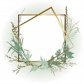 Template Design Card With Grass. Wedding Invitation Frame  With Leaves, Twigs And Plants. Herbal Gar poster