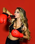 Sexy Boxing Girl. Sexy Girl In Sportswear. Sport. Fitness. Power. Exercising. Boxer Coach. Sexy Woma poster
