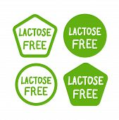 Lactose Free Logos Stickers Icons Vector Set poster