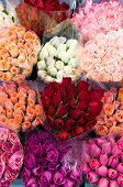foto of flower shop  - pattern of rose bouquets - JPG