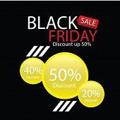 Black Friday Sale Label. Vector Ad Illustration. Promotional Marketing Discount Event poster