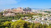 Aerial View Of Athens With Acropolis Hill, Greece. Famous Ancient Acropolis Is A Top Landmark Of Ath poster