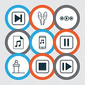 Multimedia Icons Set With Drum Sticks, Next Song, Pause Music And Other Beat Instrument Elements. Is poster