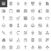 Office And Corporate Business Line Icons Set. Linear Style Symbols Collection, Outline Signs Pack. V poster