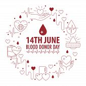 Donation Blood Circle Banner From Line Icons Element. Circle With Different Donation Elements On Whi poster