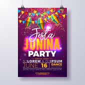 Festa Junina Party Flyer Design With Flags, Paper Lantern And Typography Design On Shiny Purple Back poster