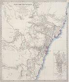 Постер, плакат: Карта XIX века Новый Южный Уэльс и Сидней Австралия