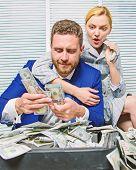 Businessman Near Cash Dollars Profit. Huge Profit Concept. Financial Success. Counting Money Profit. poster