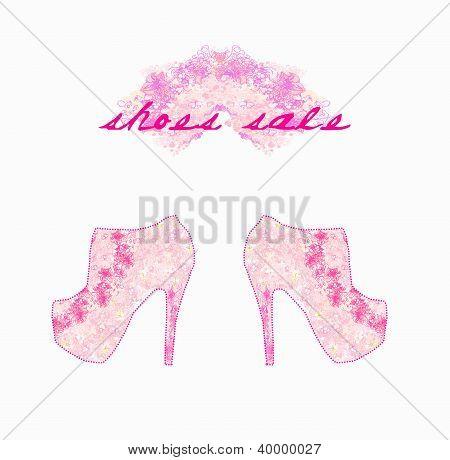 Cartel de zapatos floral