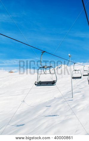 Skilift on bright winter day