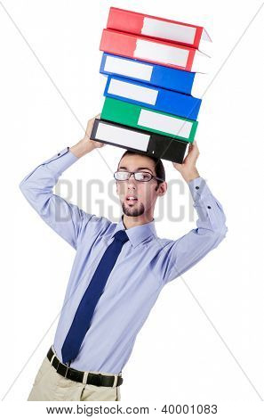 Businessman with lots of folders isolated on white