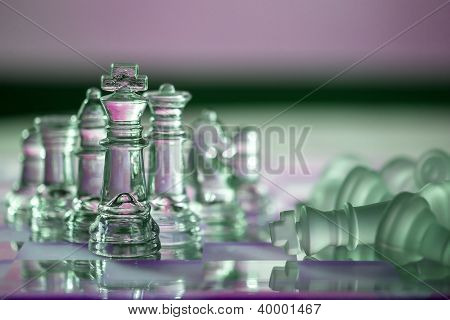 Chess Pieces - Business Concept Series: Compete, Strategy, Leadership, Team, Win, Checkmate.