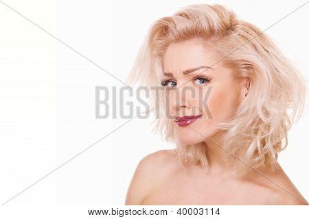 Portrait Playful Blonde Woman
