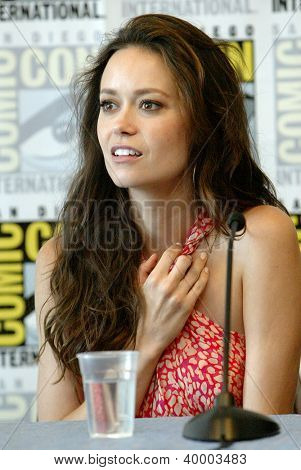 """SAN DIEGO, CA - JULY 13: Summer Glau attends a press conference for """"Firefly"""" at the 2012 Comic Con convention press room at the Bayfront Hilton Hotel on Friday, July 13, 2012 in San Diego, CA."""