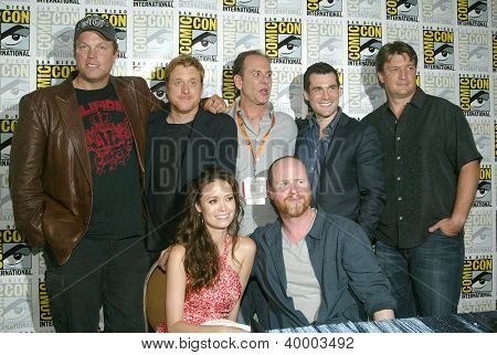 "SAN DIEGO, CA - JULY 13: The cast of ""Firefly"" at the press conference for ""Firefly"" at the 2012 Comic Con convention press room at the Bayfront Hilton Hotel on Friday, July 13, 2012 in San Diego, CA."
