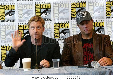 """SAN DIEGO, CA - JULY 13: Alan Tudyk & Adam Baldwin attends a press conference for """"Firefly"""" at the 2012 Comic Con convention press room at the Bayfront Hilton Hotel on July 13, 2012 in San Diego, CA."""