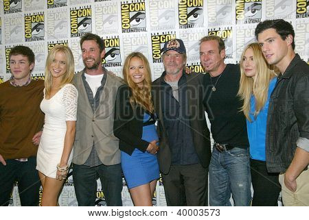 """SAN DIEGO, CA - JULY 13: The cast of """"Falling Skies"""" arrive at the  2012 Comic Con convention press room at the Bayfront Hilton Hotel  on Friday, July 13, 2012 in San Diego, CA."""