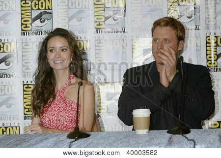 "SAN DIEGO, CA - JULY 13: Summer Glau & Alan Tudyk attends a press conference for ""Firefly"" at the 2012 Comic Con convention press room at the Bayfront Hilton on Friday, July 13, 2012 in San Diego, CA."