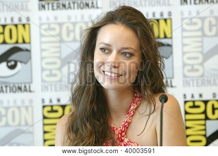 "SAN DIEGO, CA - JULY 13: Summer Glau attends a press conference for ""Firefly"" at the 2012 Comic Con convention press room at the Bayfront Hilton Hotel on Friday, July 13, 2012 in San Diego, CA."