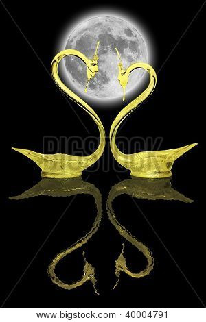 Two Gold Swans And Their Reflection