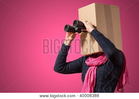 Girl with cardboard box head