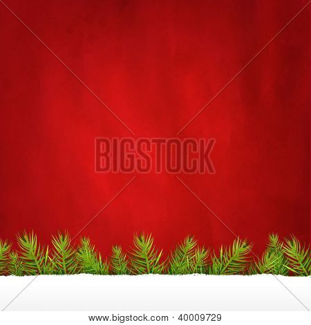 Rip Paper And Retro Red Background And Fir Tree, With Gradient Mesh, Vector Illustration