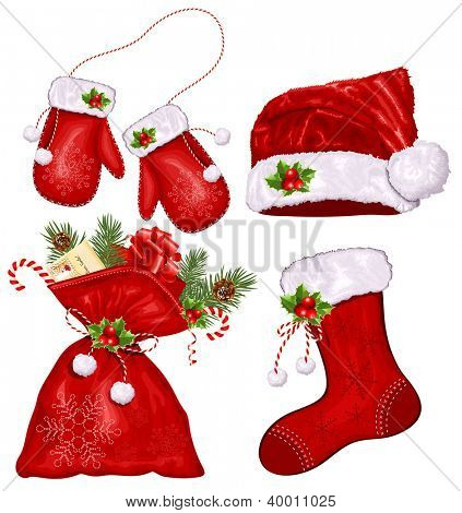 Set of Christmas symbols. Rasterized version of vector illustration  ID: 120171073