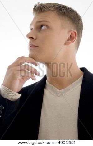 Portrait Of Handsome Male Looking Upside