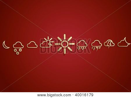 Weather  Icons Set on the red background. eps10. Image contain transparency and various blending modes