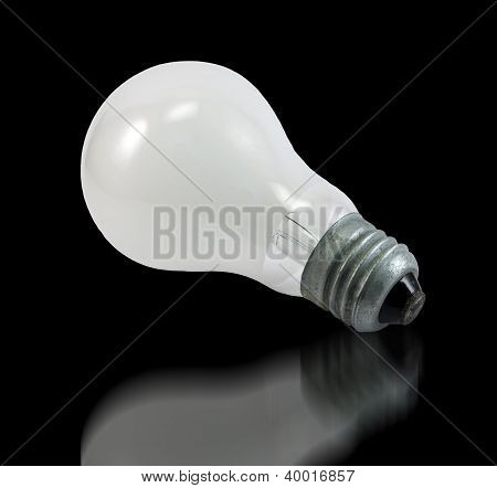 Incandescent Bulb On Black