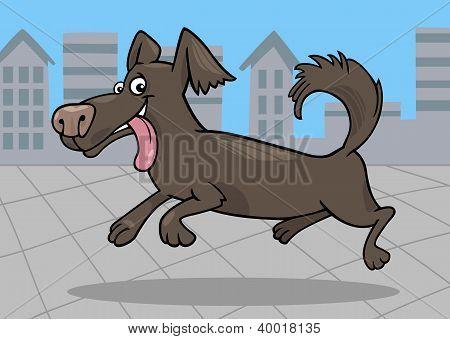 Running Little Dog Cartoon Illustration