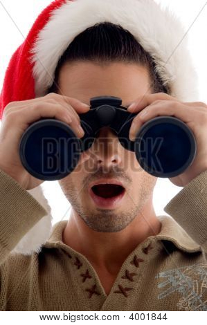 Guy Looking Into Binoculars