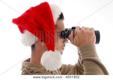Young Guy With Binoculars
