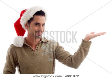 Young Male Wearing Christmas Hat