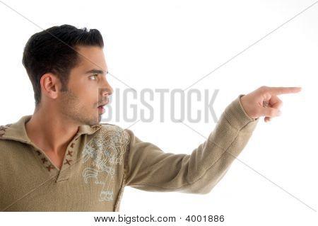 Fashionable Man Pointing Sideways