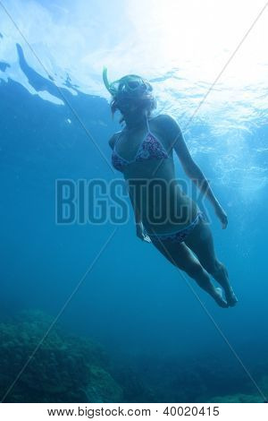 Underwater shoot of a young woman having skin diving in a sea