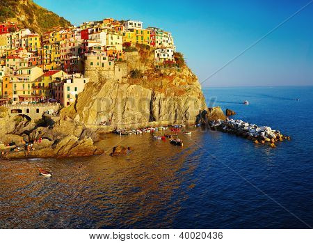 Manarola town of Cinque Terre National Park at calm sunny day, Italy