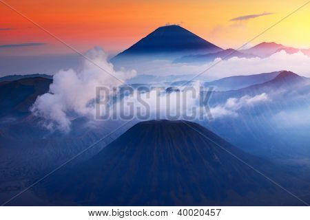 Volcanoes in Bromo Tengger Semeru National Park at sunset. Java, Indonesia