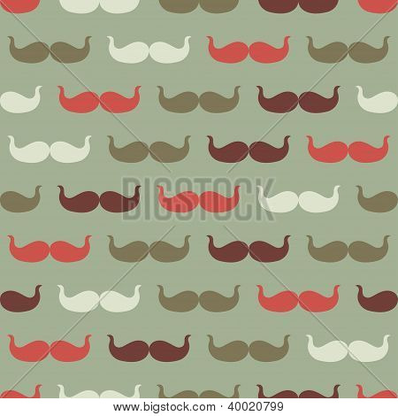 Vintage seamless pattern with mustache, vector illustration.