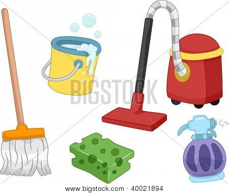 Illustration of Different House Cleaning Tools and Items