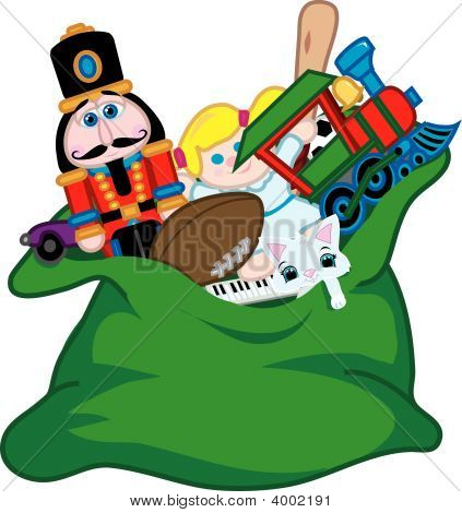 Santa'S zak met speelgoed
