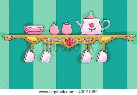 Illustration of a Shelf Holding a Pink Tea Set