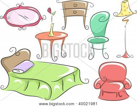 Illustration of Home Furniture Featuring a Bed, a Corner Table, a Chair, a Dresser, a Lampshade and a Mirror