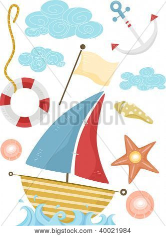 Illustration of Nautical Elements Featuring a Sailboat, an Anchor, a Lifebuoy, and a Flag