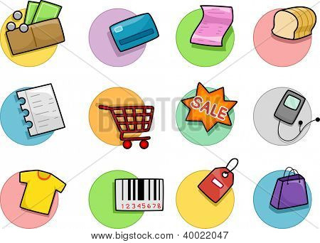 Illustration of Different Shopping Icons Design Elements