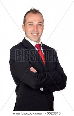 Young businessman with red tie isolated on white background